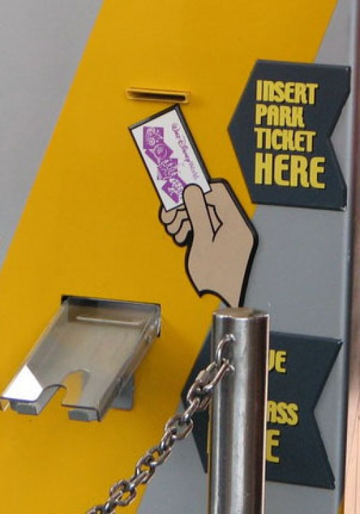 Put your ticket into the machine, get a fastpass