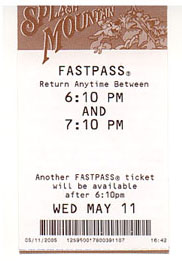 Note the time indicated for getting your next fastpass