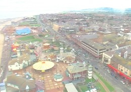 View east from Rhyl skytower North Wales