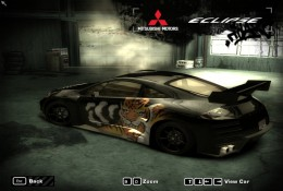 Black Mitsubishi Eclipse, parked, from back, racing car.