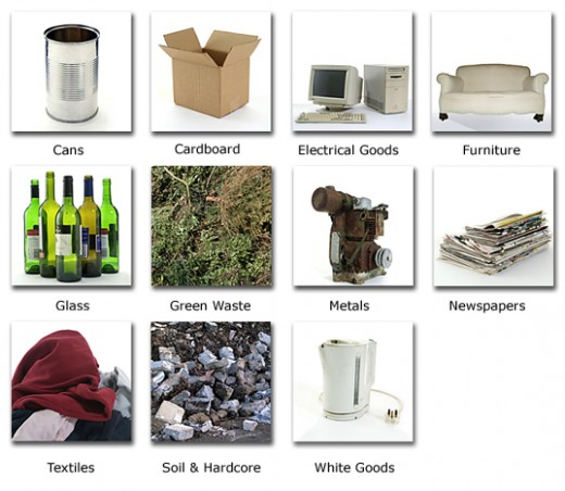 A list of hazardous household materials which if properly recycled can be useful.
