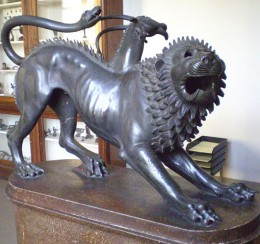 "A well known example of Etruscan art. The ""Chimera of Arezzo"" made of solid bronze. Photo by Lucarelli."