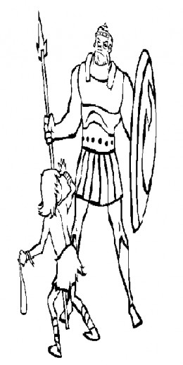 Bible Sunday School Stories Kids Coloring Pages with Free Colouring Pictures to Print  - David and Goliath Coloring Sheet