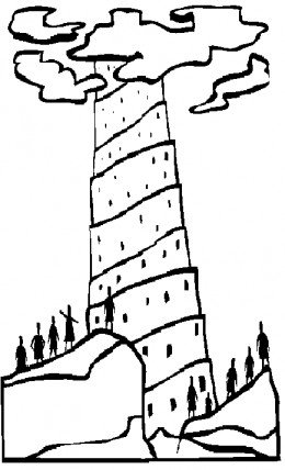 Bible Sunday School Stories Kids Coloring Pages with Free Colouring Pictures to Print  - Tower of Babel Coloring Sheet