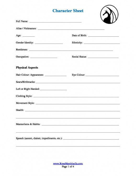 My Character Sheet is available as a free download to help you flesh out your important characters.
