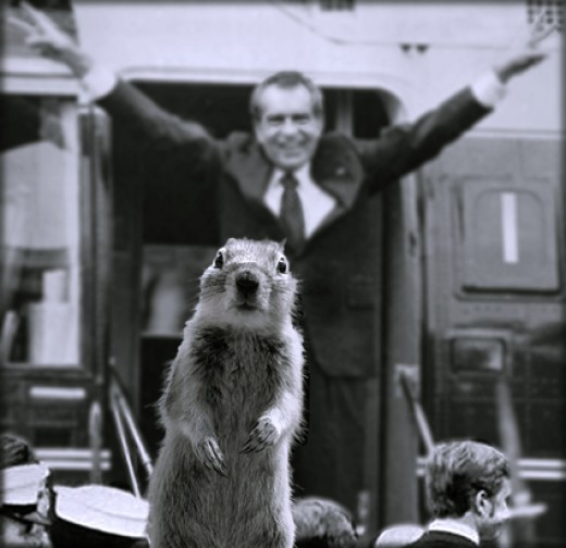 And Crasher Squirrels great great Grandfather hear Nixon say his last words while in office. He says Nixon's last words were NUTS. Though were not sure who Nixon was referring to.