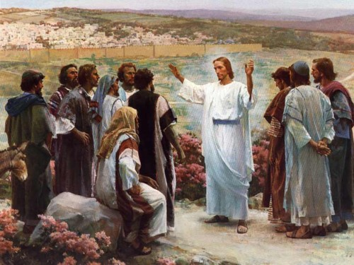Jesus speaking with his disciples after the resurection.