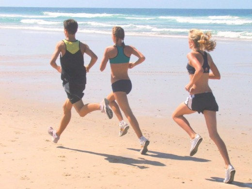 running on Gold Coast Beach Queensland