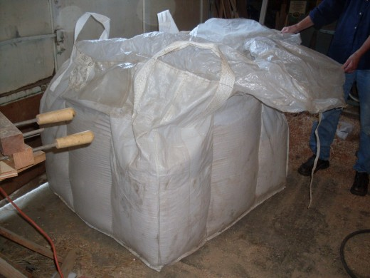 The tote is roughly the size of a big pallet, and holds 1500 lbs. of feed.