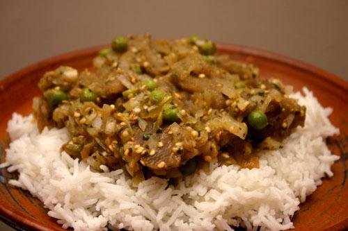 Eggplant Bharta with Peas (Baingan Ka Bharta)
