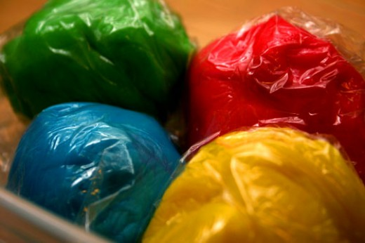 homemade play dough, bagged and ready for the kids