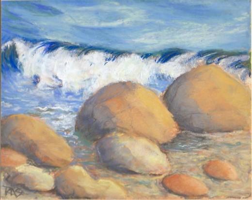 Waves on Rocks, Yarka soft pastels on Colourfix sanded pastel paper by Robert A. Sloan
