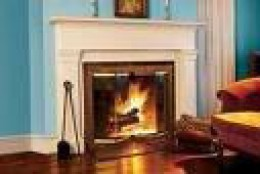 a common style of modern wood burning fireplace