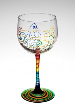 Hand painted water or wine glass