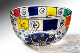 Small hand painted glass bowl