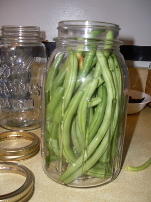 A nicely packed jar of whole French filet green beans.