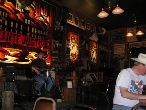 The Country and western singer in Big Nose Kate's Saloon