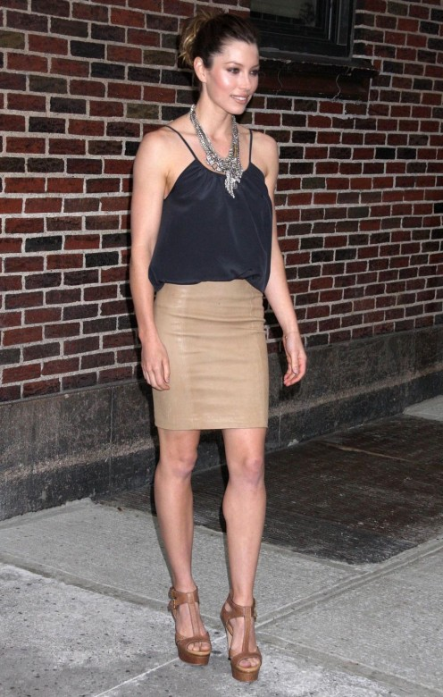 Jessica Biel appearing on the Late Show in a short skirt and high heel sandal