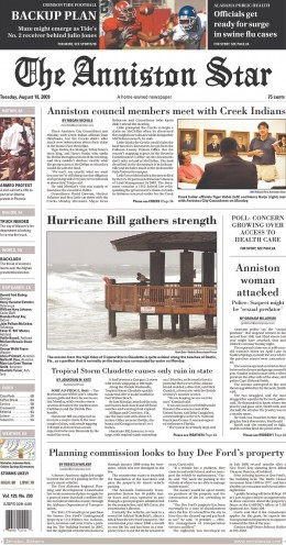 The Anniston Star makes efficient use of photographs in its news design.