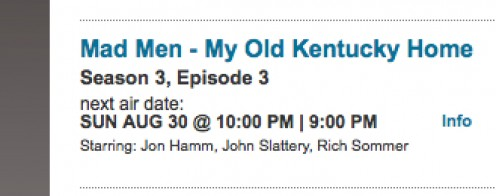 "Screen shot of AMC's scheduled air date for ""My Old Kentucky Home."" / E. A. Wright"