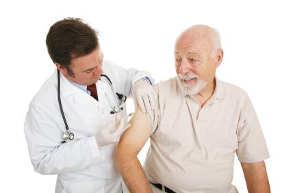 Senior Citizen getting injection