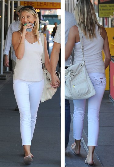 Cameron Diaz in white skinny jeans. She';s a summer girl and looks great keeping them casual with flats.