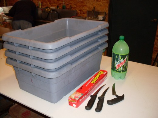 At least three large tubs for hauling finished chickens; four or five is better. Knives designed for meat cutting. Freezer bags - we needed 2 gallon-size; if your birds are small or skinny, recycled bread bags may work. Frozen bottles of water are gr