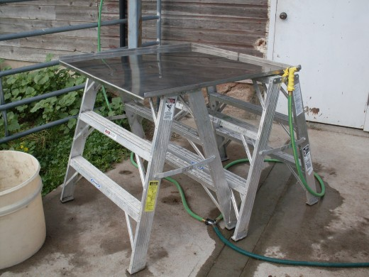 "Our work table, a stainless steel sheet with ""lips"" on 3 sides. We also had handy 2 garden hoses with spray nozzles."