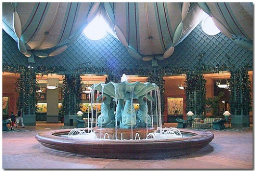 The lobby fountain of the Walt Disney Resort Dolphin