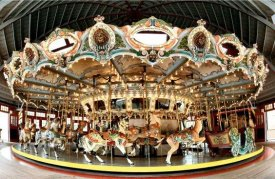 The San Francisco Zoo, founded in 1929, houses a historic Dentzel Carousel built by William H. Dentzel in 1921. It is intricately hand-carved wood throughout. Since the 1930s carousel animals were metal and fiberglass, but this is wood.