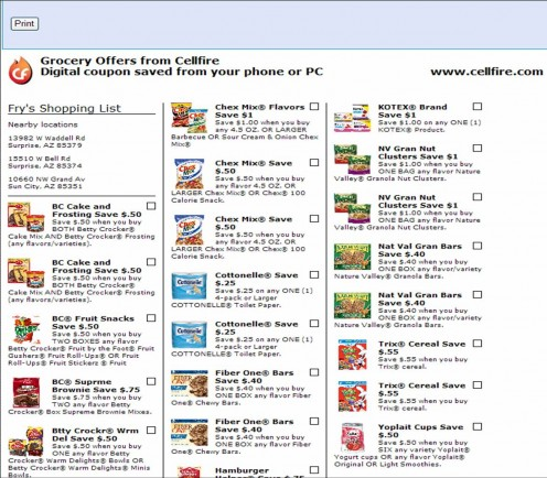 After you've selected your offers, you can print your shopping list as a reminder of which coupons are linked to your card.
