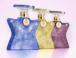 Bond No. 9 bottles covered in colored Swarovski crystal pavé