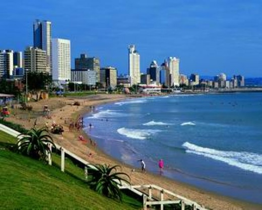 The Beautiful beachfront in sunny Durban South Africa with Durban Hotels in the frontline
