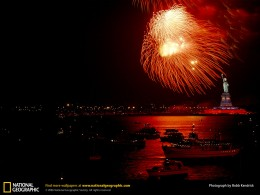 New York Harbor and Statue of Liberty fireworks