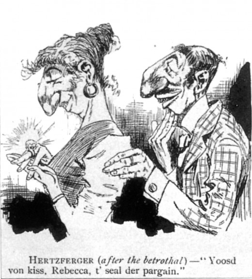 Eugene Zimmerman (1862-1933) A Difficulty Overcome Pen and Ink 1891 An excessive nose and an excessive bank account are just two of the symbolic elements used by illustrators at this time to lampoon Jews.