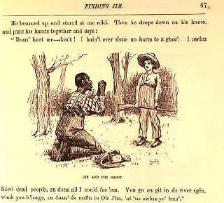 """Edward Windsor Kemble  (1861-1933) Jim and the """"ghos"""" Huckleberry Finn  From the First Edition of  The Adventures of Huckleberry Finn  by Mark Twain, 1885 Pen and ink 188"""