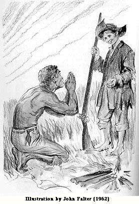 "John Philip Falter  (1910-1982)                 (Detail) Jim and the ""Ghost"" of Huck Huckleberry Finn  Macmillan Edition Lithograph 1962"