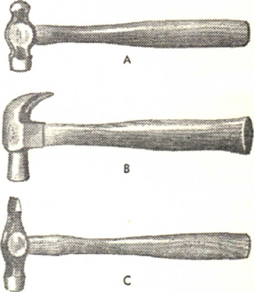 Hammers: A. Engineer's; B. Carpenter's claw hammer; C. Tinsmith's hammer.