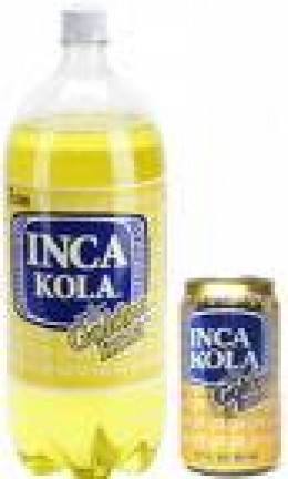 The Inca Kola drink bottle and can