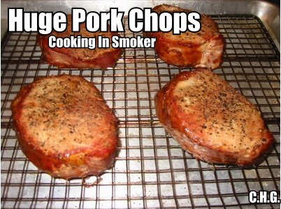 This is how your giant pork chops should look like cooking in the smoker.