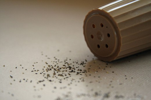 Ground pepper from a pepper mill. Image is in the public domain.