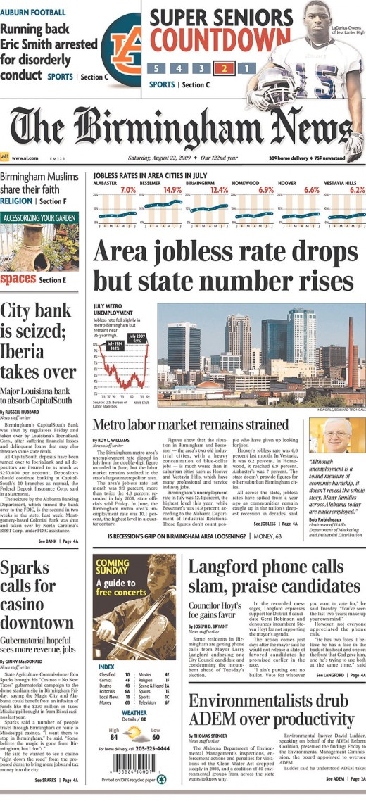 With its use of colorful infographics and an exciting flag, The Birmingham News' front page news design offers an exceptional view of Birmingham's rich story.