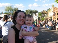 Violet and I getting ready to watch Mickey's Jingle Jungle Parade