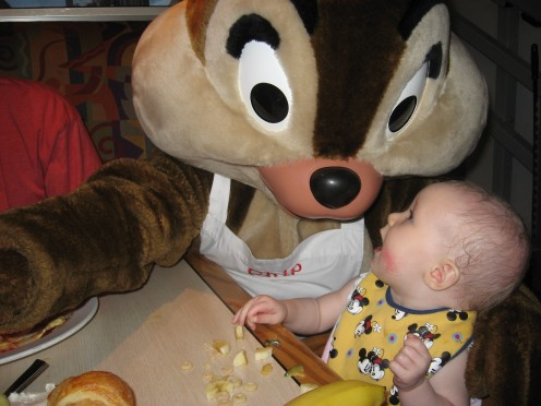 Hope meeting Chip at Chef Mickey's (in Contemporary resort)