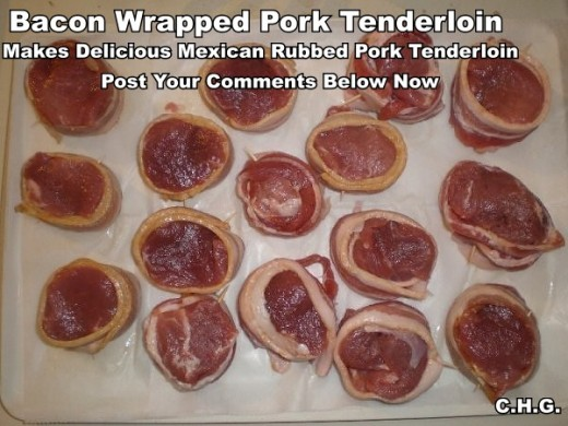 Here is a photo of what your bacon wrapped pork tenderloins should look like.