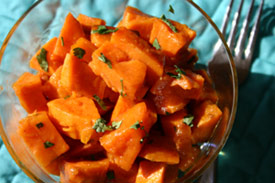 Sprinkle fine chopped cilantro over your cooked sweet potatoes.