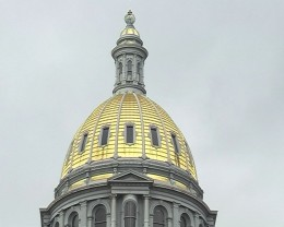 Gold dome on State Capitol building in Denver Colorado