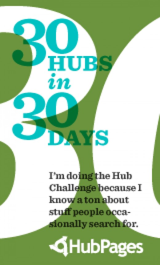 #28 of 30 Hubs in 30 Days. I started my challenge on July 25th, so it ends on August 24th at the end of the day. Only two more needed to finish!