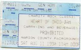 Concert ticket for Heart of Ohio jam August 11th 1990