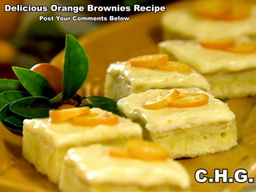 Here is a delicious recipe for orange brownies. They are so delicious. Garnish with sliced and whole kumquats if they are available in your area.